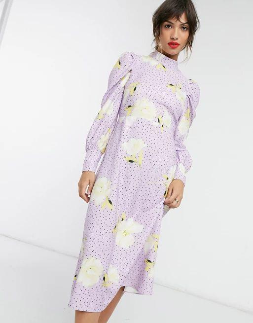 Closet London high neck midi dress in lilac polka dot oversized floral