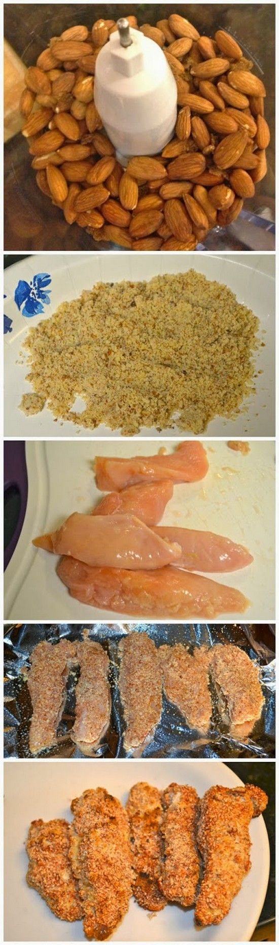 Almond Crusted Chicken Tenders | This is one of my favorite alternatives to chicken tenders, the almonds offer a super tasty nutty flavor. The crunch is just perfect and no frying is necessary! You can serve as a main dish or slice the strips into smaller chunks to throw on top of a salad.