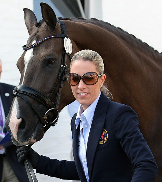 Charlotte dujardin leading valegro in the veterinary check for Charlotte dujardin