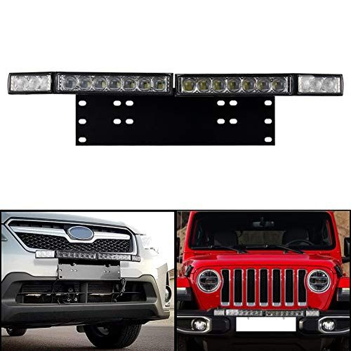 Zjusdo Front License Plate Mount With 60w Led Light Bar Universal For Jeep Off Road Truck Trailer Suv Atv Driving Ligh Suv Front License Plate Mount Led Lights