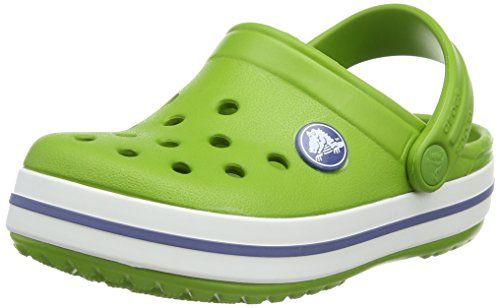 Crocs Crocband Kids, Unisex Niños Zueco, Verde (Volt Green/Varsity Blue), 19-21 EU