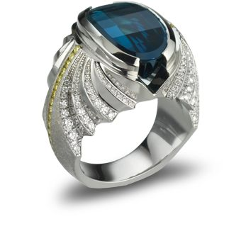 Platinum ring featuring a 11.54ct diamondback cut indicolite blue tourmaline, 0.54ctw of yellow diamonds and 1.04ctw of white diamonds