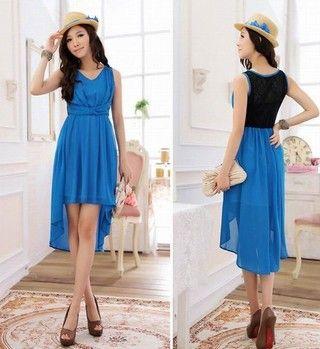 Chic Chiffon Back Lace Irregular Lap Dress Blue - $35 on @ClozetteCo