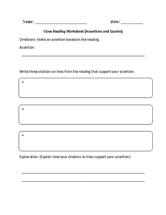 Close Reading Assertions and Quotes Reading Comprehension ...