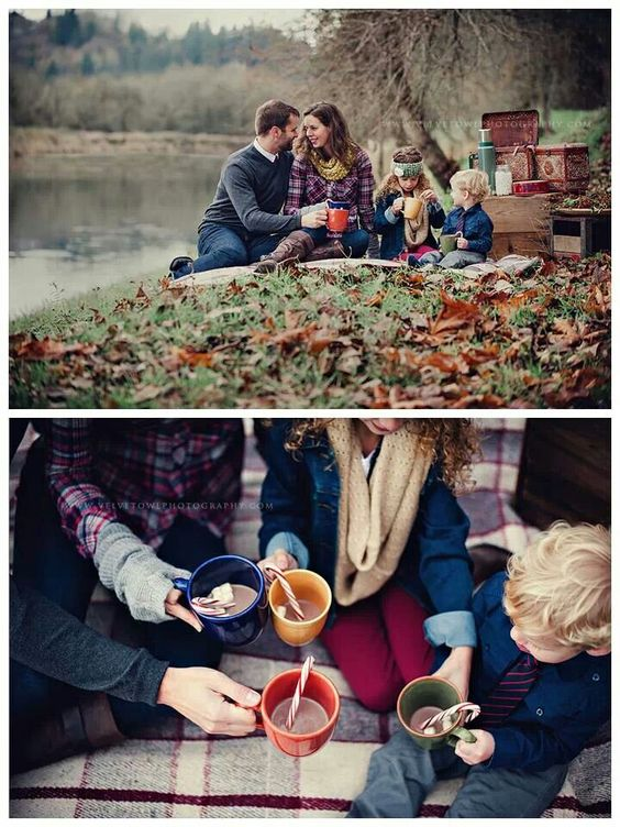 Winter, hot chocolate, outdoor family photo session