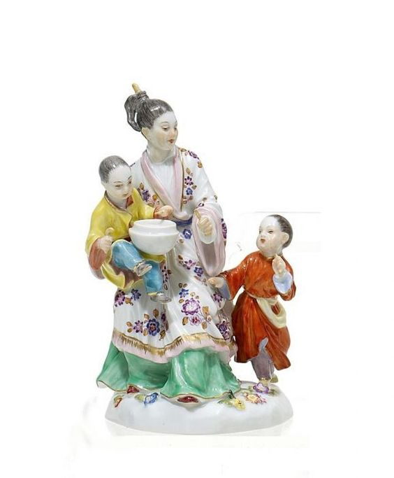 Chinese Lady in a Boat, with Child and Heron. Meissen. Model by J.J. Kaendler and P. Reinicke, 1750.