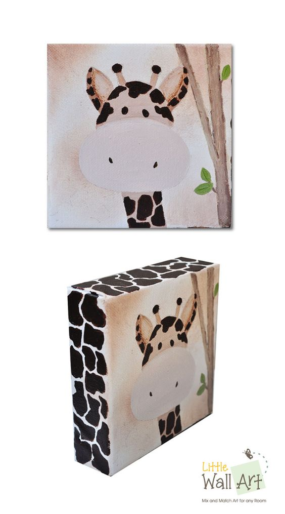 "5""x5"" canvas giraffe, 1-1/2"" profile with giraffe pattern."