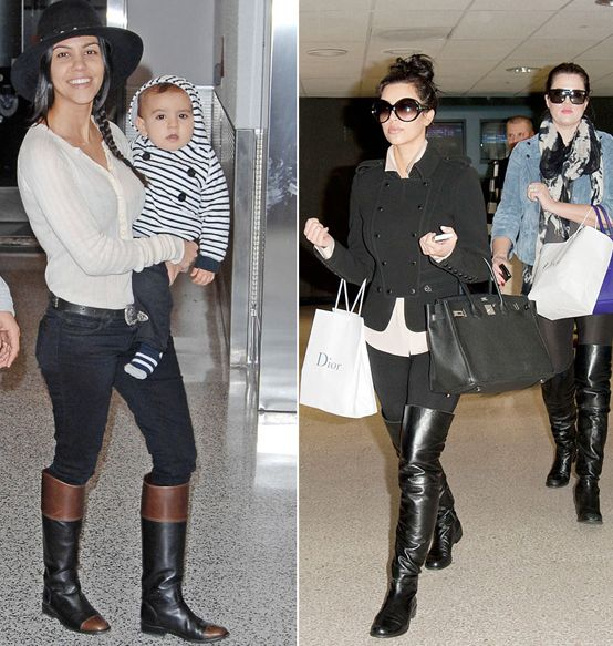 Kourtney Kardashian wearing riding boots and Kim and Khloe