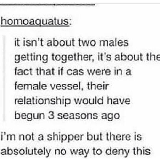 Their relationship would've become canon like since we saw Cas<<< this is sad. They obviously have chemistry. Destiel. ❤️