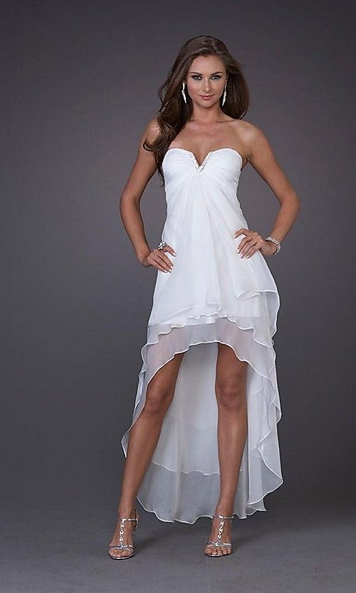 White prom dresses long in back short in front