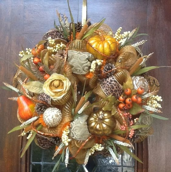 Gold Deco Mesh Fall Wreath by HertasWreaths on Etsy, $155.00