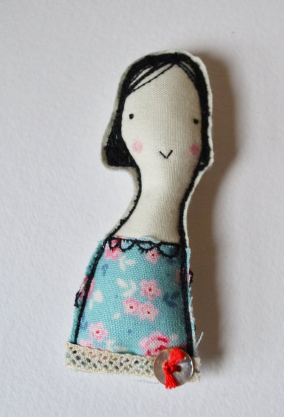 BROOCH pin free machine embroidered girl by hensteeth on Etsy