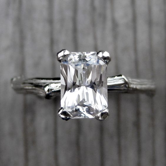 Radiant White Sapphire Twig Engagement Ring (1ct) from Kristin Coffin Jewelry