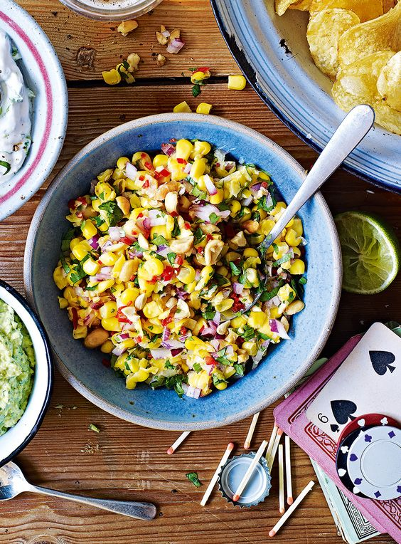 A zingy sweetcorn salsa recipe – perfect for dipping into with crisps or tortilla chips.