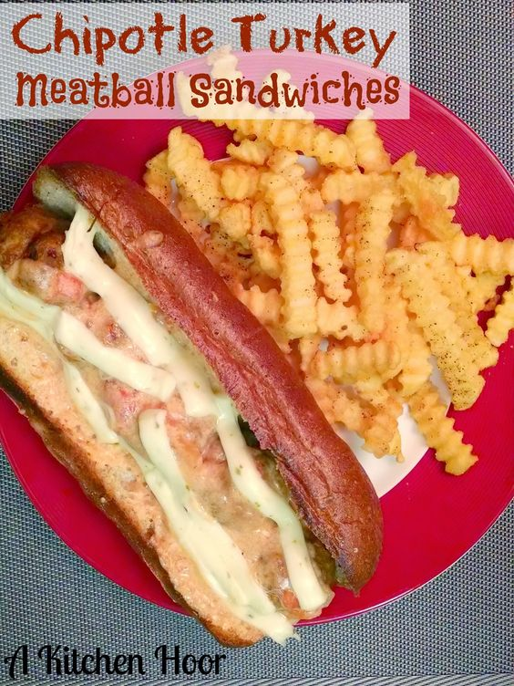 Chipotle Turkey Meatball Sandwiches with @Oré Ante Scriptum-Ida Potatoes Easy Fries