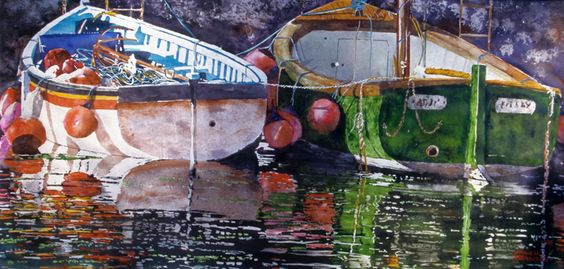 "sunrise boats, u.k. 20"" x 40"" micheal zarowsky watercolour on arches paper / private collection"