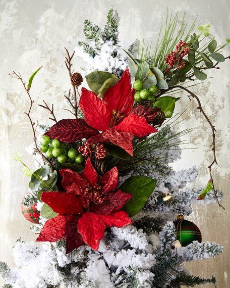Katherine S Collection Christmas Poinsettia Branch Christmas Flowers Outdoor Christmas Decorations Christmas Tree Decorations