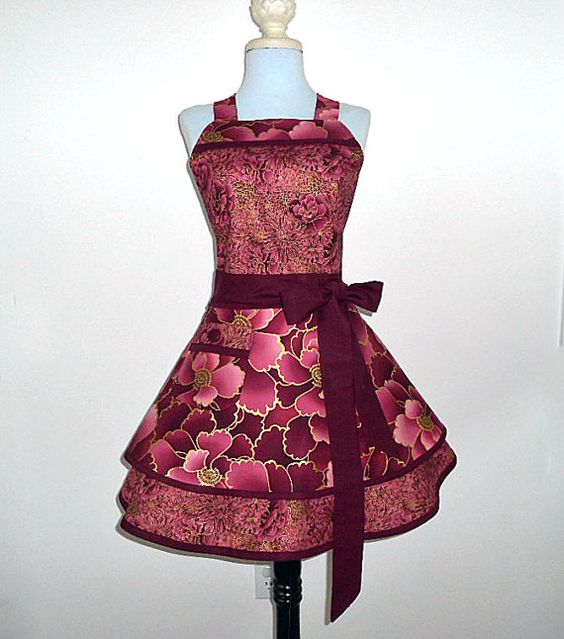 Asian inspired 2 tier womens retro full apron by ApronsbytheChick, $45.00