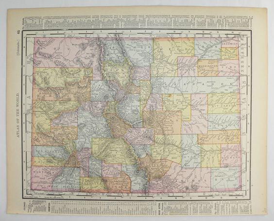 1800s Colorado Map, New Mexico Map 1898 Antique Map Colorado, NM Map CO, Southwestern Decor, Colorado Gift for Couple, Housewarming Gift available from OldMapsandPrints.Etsy.com #NewMexico #Colorado #WesternUSStateMap