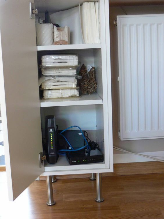 IKEA Hackers: Customized hallway solutions; router and modem hidden away