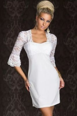 US$7.36 Drop-Shipping White Floral Lace Splice Half Sleeves Mini Dress