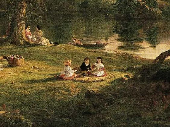 Thomas Cole: The Picnic. Detail. 1846. Oil on canvas.