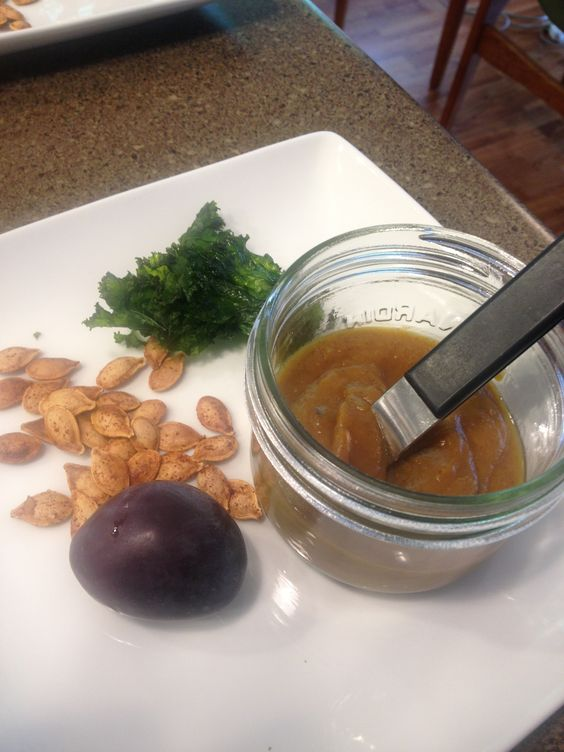 Snack: squash soup, kale chips (coconut oil, maple syrup, & sea salt), cinnamon pumpkin seeds (could do chick peas or ses.seeds) plum.