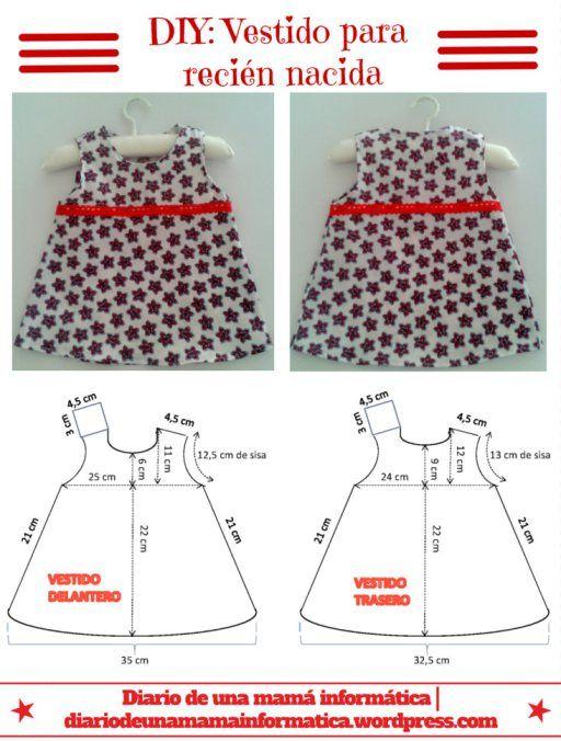 DIY: Vestido para niña recién nacida, incluye patrón. DIY ...