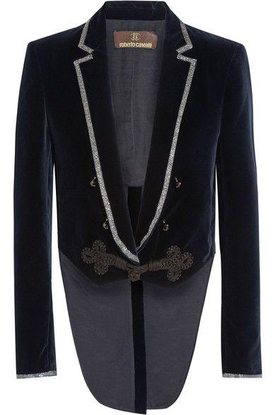 Midnight-blue velvet Loop fastening at front 100% cotton; lining: 52% cotton…