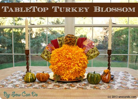 Decorating Ideas > Adorable Turkey Blossom Centerpiece From @Sew Can Do! #  ~ 092318_Joanns Thanksgiving Decorations