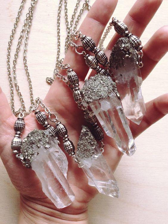 Clear Quartz Crystal Necklace/ Raw Quartz/ Crushed Pyrite/ Natural Gem Stone…