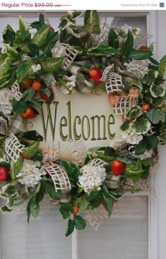 Spring Green/Cream Check Faux Burlap,  welcome sign, strawberries, white geraniums, ivies, vines and a cream window pane ribbon.