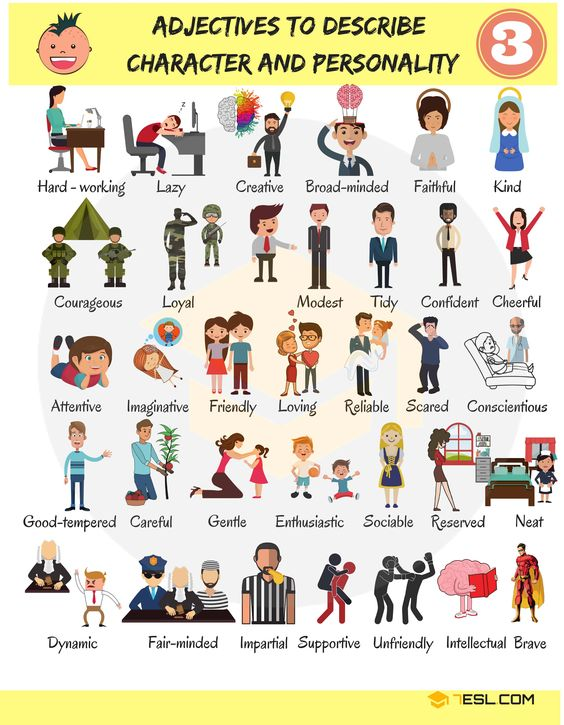 100+ Personality Adjectives | Character Traits & Personality Traits - 7 E S L