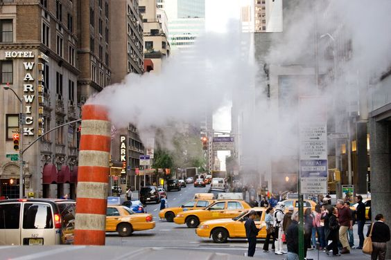 Steam vents in the street. New York City 2005: