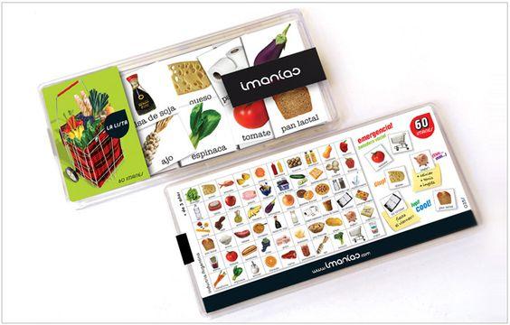 Set de imanes para heladera para armar la lista de compras del supermercado de una manera práctica, original y divertida. La caja incluye 60 imanes. PRECIO: $70.