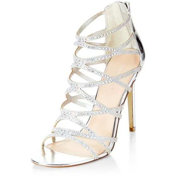 Silver Diamante Cross Strap High Heels (67 AUD) ❤ liked on Polyvore featuring shoes, pumps, silver, silver shoes, silver high heel shoes, open-toe pumps, silver pumps and open toe high heel shoes