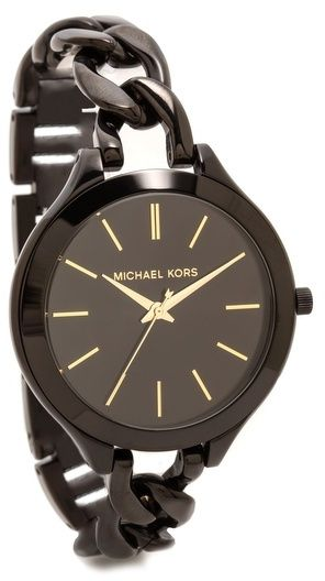 Michael Kors Midnight Safari Slim Runway Twist Watch - Curb-chain detailing brings a luxe touch to this Michael Kors watch, crafted with slim markers at the round dial. Removable links adjust the band. Buckle clasp. Now $156 at shopbop.com