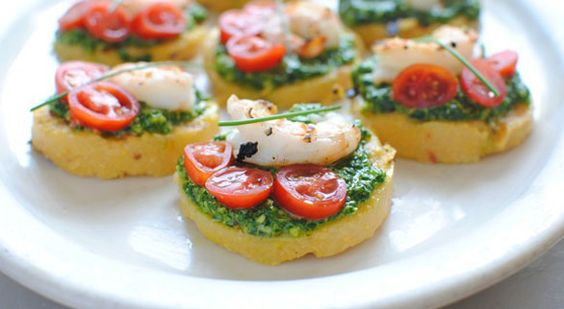 Polenta Bruschetta with Shrimp and Spinach Pesto | Recipe | This ...