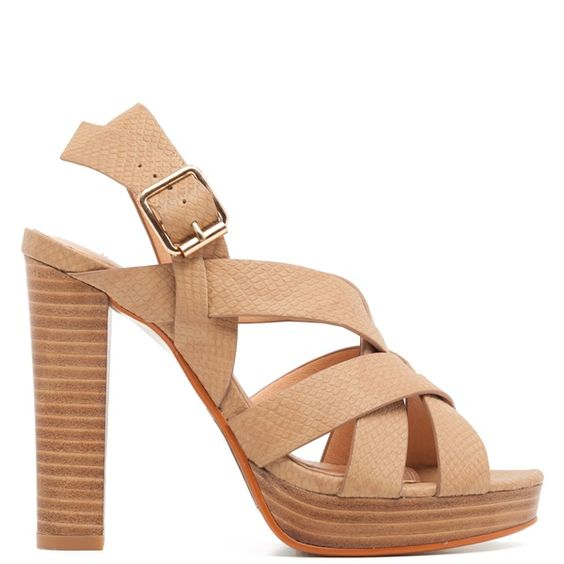 Camel high-heel sandal with cross over straps. Features wooden ...