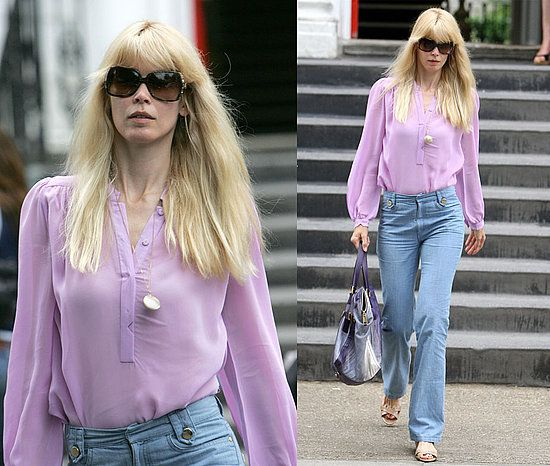 Celebrity Style: Claudia Schiffer | Kid Shirts and Sheer blouse