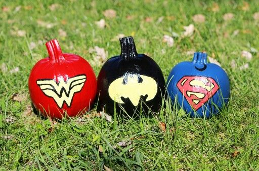 Fall Halloween Painted Pumpkins And Batman Pumpkin On
