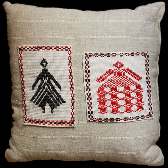 Reut-Studio    Cushion with traditional Belarusian pattern.  Lada and Lel, gods of love and beauty