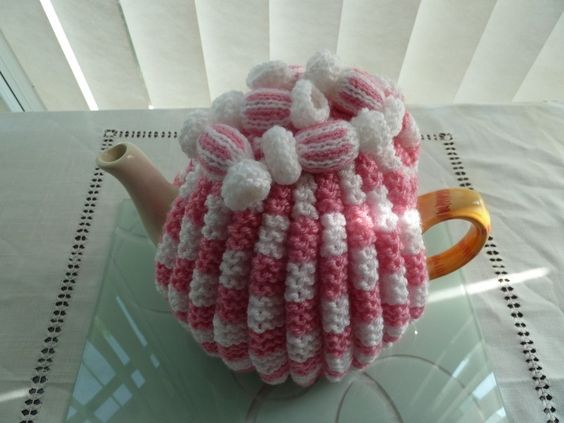 tea post cozys cosie fondant pink and white with sweets wool uk seller