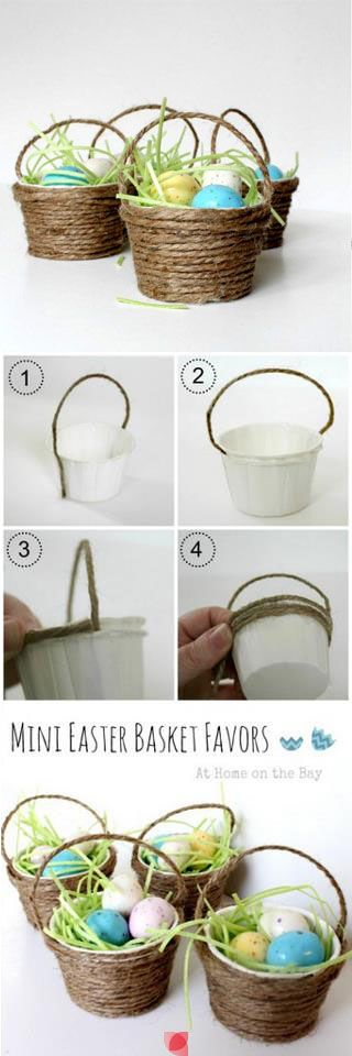 Mini easter baskets with paper cups and jute string: