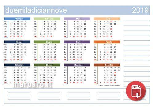 Calendari 2019 Con Le Festivita Italiane In Formato Pdf Da Scaricare Gratis E Stampare Calendario Calendario Stampabile Stampe