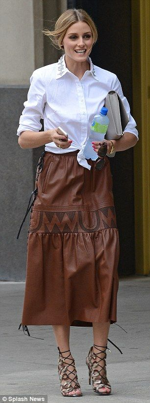 Olivia Palermo in long leather skirt and heels as she runs errands ...