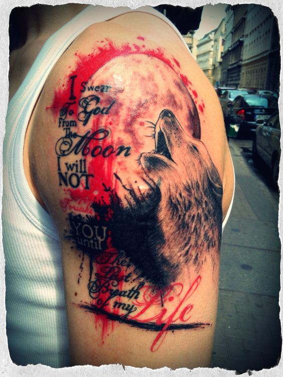 Trash design tattoo, with typography and a wolf howling to ...