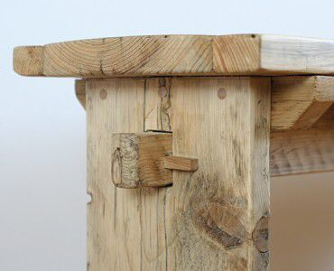 Bench hand made from scaffold board