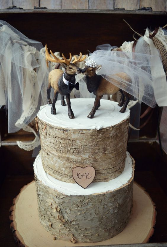 Tree Stumps Wedding Cake Toppers And Elk On Pinterest