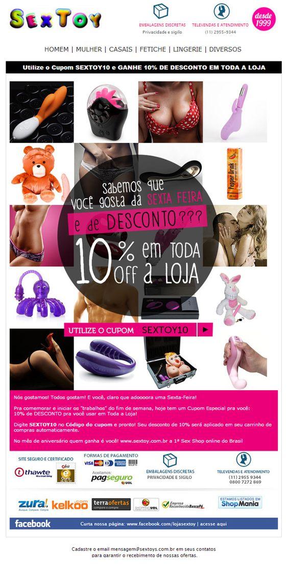 Campanha 10% OFF para loja SexToy, a primeira sex shop online do Brasil. Email marketing responsivo. By Tiago Nepomuceno